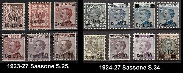Italien Königreich 1923/1927 - Overprinted stamps from 1901-20-23 no. 2 complete sets - Sassone NN. S.25/S.34.