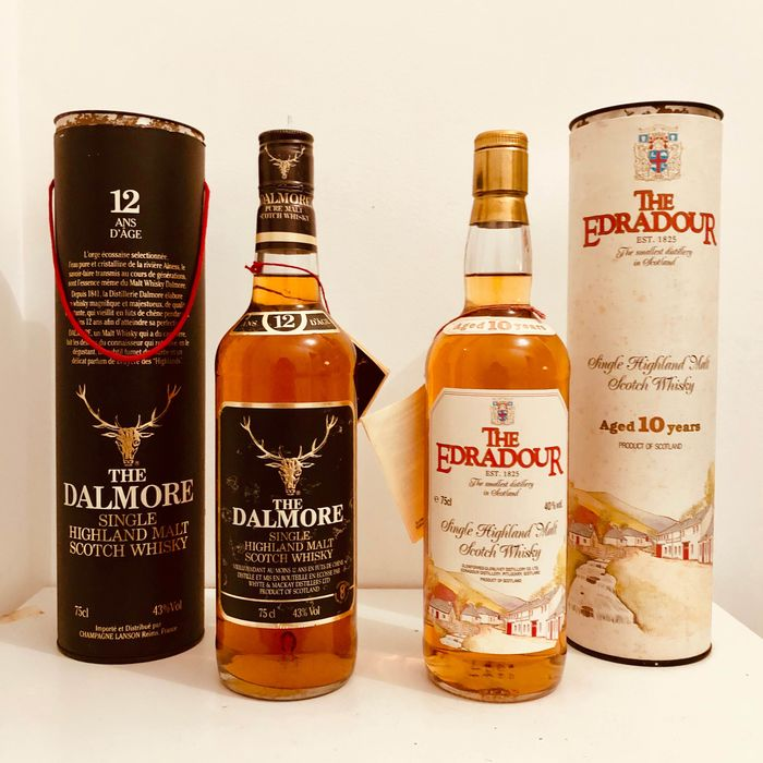 Dalmore 12 years old & Edradour 10 years old 12 years old - b. Jaren 1980 - 75cl - 2 flessen