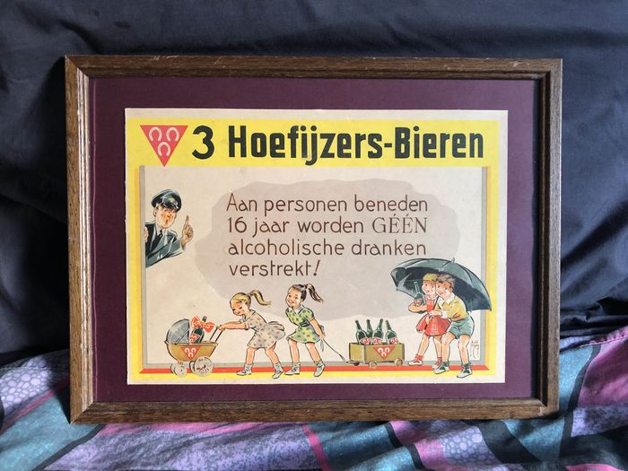 Three Horseshoes Beer Under 16 years no alcohol 1954 - cardboard / paper framed in original