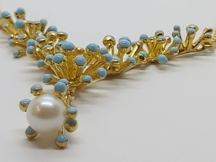 18 kt. Yellow gold - Necklace with pendant - 7.00 ct Pearl