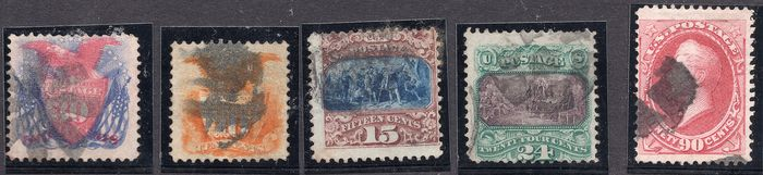 États-Unis 1869/1887 - Various issues - Michel Nrs. 30, 32 II, 33, 34, 59