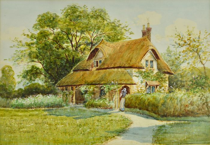 Alfred Oliver Townsend. (1846-1917) - Figures beside a cottage