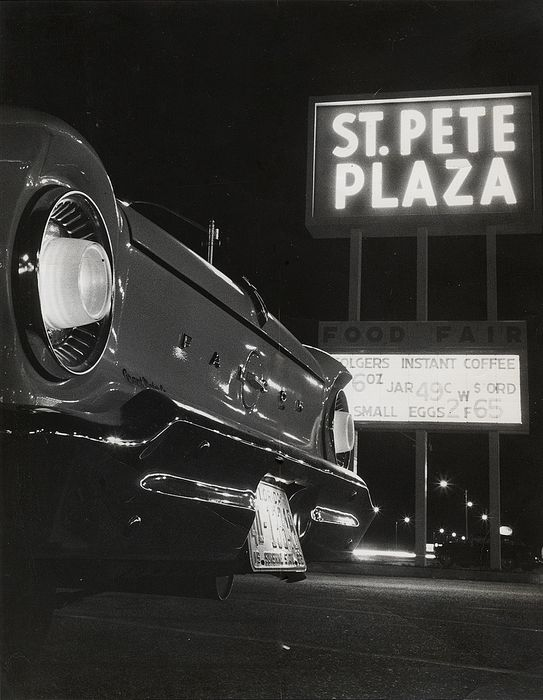 Cliff Myers (XX)/St. Petersburg Times - Ford Falcon, Shopping Center Parking Lot at Night, 1962