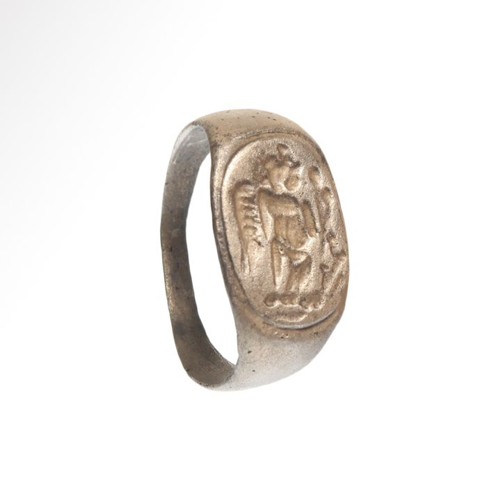 Ancient Roman Silver Ring with Victory