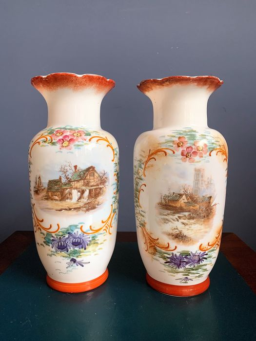 Pair of opaline vases with hand-painted landscape scenery - Glass