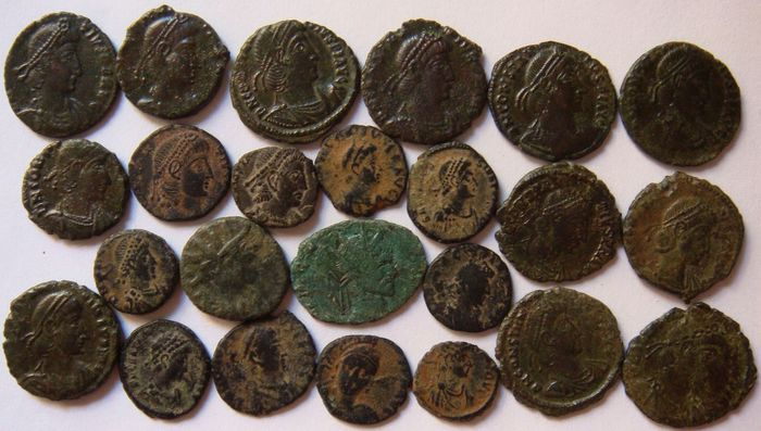 Römisches Reich - Lot of 24 X AE coins, 3rd - 4th century AD