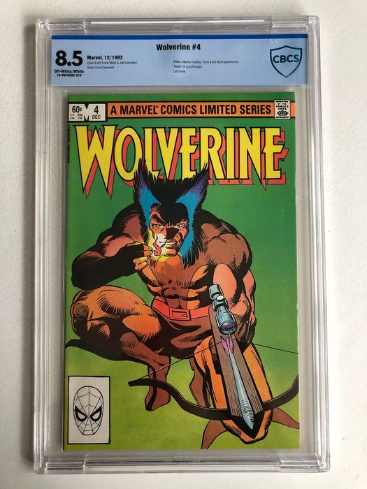 "Wolverine #4 - from Frank Miller's Famous Limited Series -  X-men, Mariko Yashida, The Hand & Yukio Appearance - ""Death"" Of Lord Shingen - CBCS Graded 8.5 - Very High Grade!! - Softcover - First edition - (1982)"