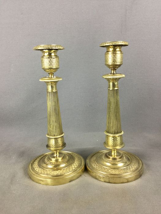 pair of Charles X candle holders - Bronze - First half 19th century