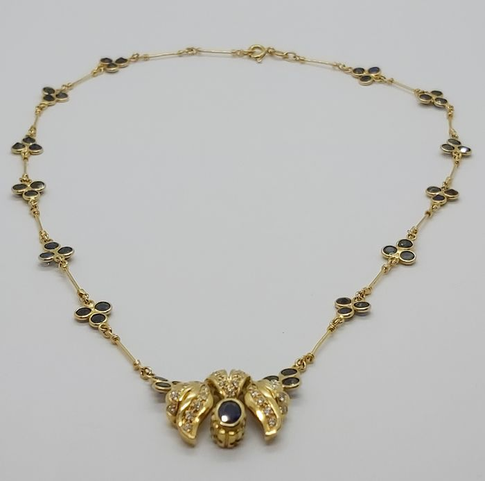 18 kt. Yellow gold - Necklace - 0.20 ct Sapphire - Diamonds