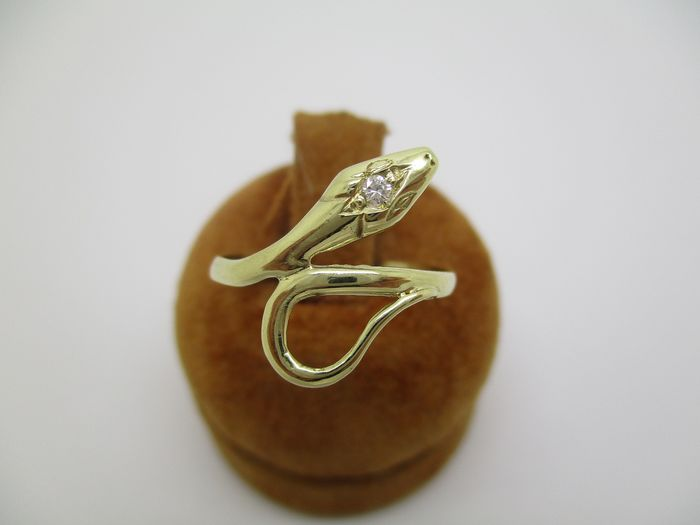 18 kt. Gold, Yellow gold - Ring - 0.02 ct Diamond