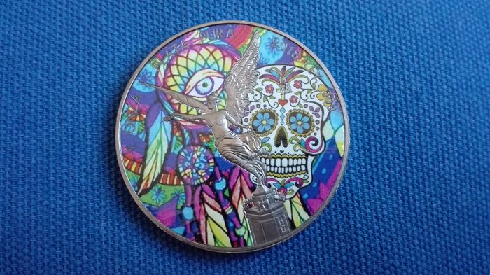 "Mexico - 1 Onza 2018 - ""The Skull"" colour e rutenio - 1 Oz - Silver"