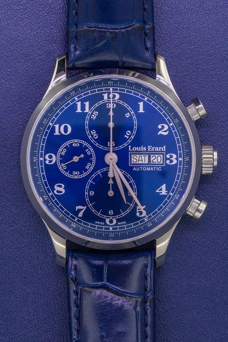 "Louis Erard - Automatic  1931 Chronograph Watch Blue Leather Strap - 78225AA25.BDC37 ""NO RESERVE PRICE"" - Uomo - BRAND NEW"