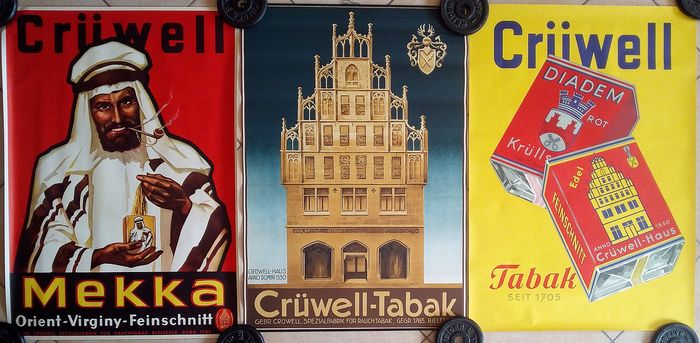 Anonymous - Crüwell Tabak (3 posters) - Années 1960