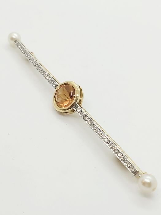 18 kt. White gold, Yellow gold - Brooch - 2.80 ct Citrine - Diamonds