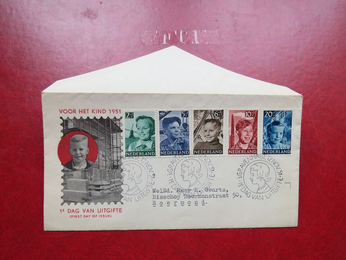 The Netherlands 1951 - FDC Child (relief) stamps - NVPH E6