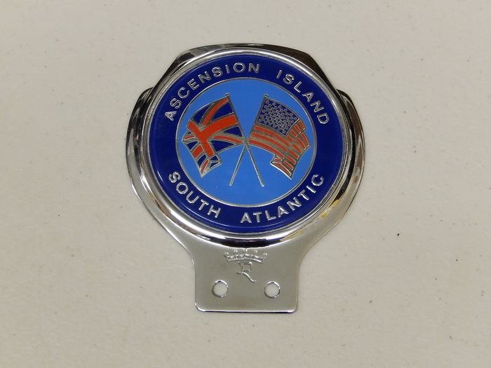 Plakette - Vintage Chrome Renamel Ascension Island South Atlantic Car Badge Auto Emblem - 1970