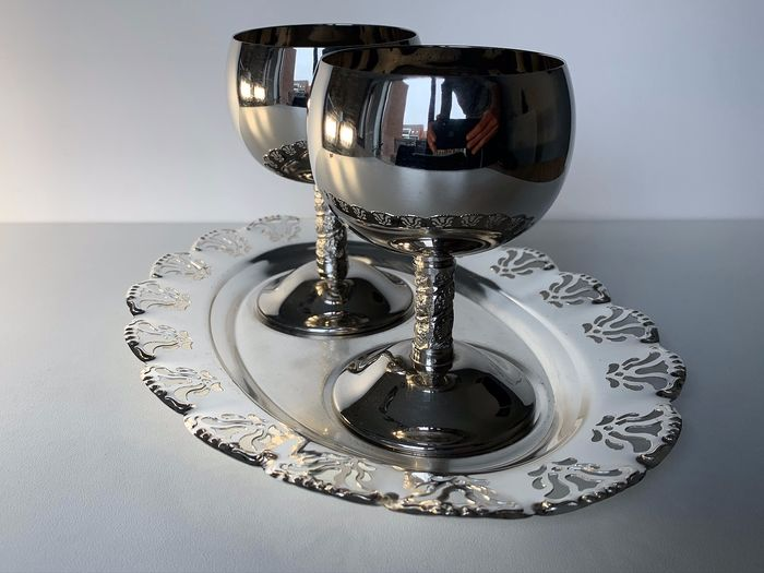 A. Lara - Cup, Tray (3) - Silverplate