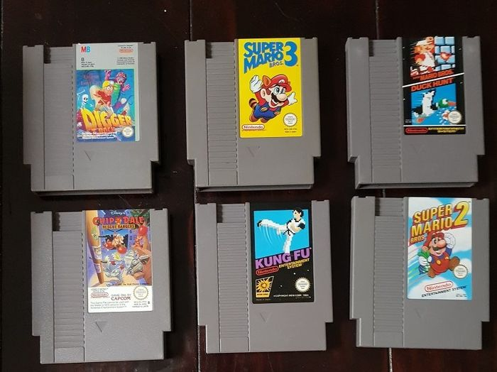 Nintendo - NES (6) - Supermario- Chip-Digger -Kung Fu Game Cartridge solamente