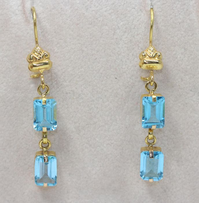 18 kt. Yellow gold - Earrings - 2.00 ct Topaz