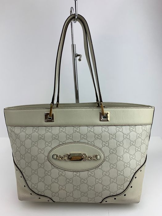 Gucci - GG patern -Off White-Leather- Zipper Tote bag