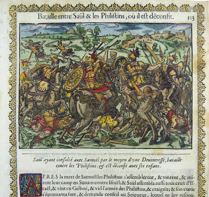 Jean Le Clerc (attr.)  - 2 Bible woodcuts. Battle between Saul & Philistines  - 1614