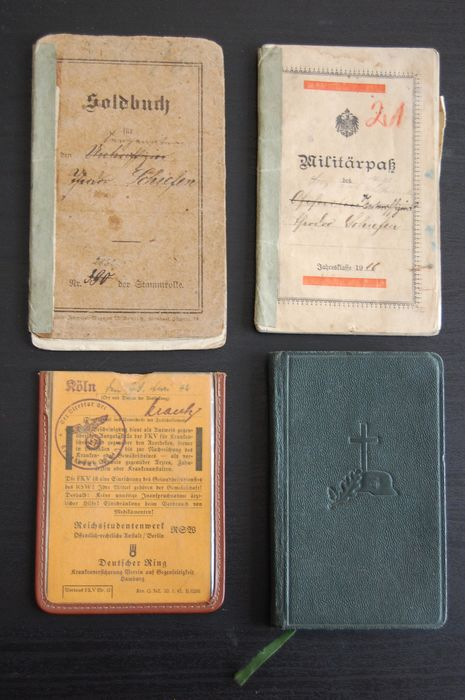 Germany - Army/Infantry - Accessories, Book, Document, ID card WW2; Soldbuch, military pass, Stahlhelm Wehrmacht prayer book.
