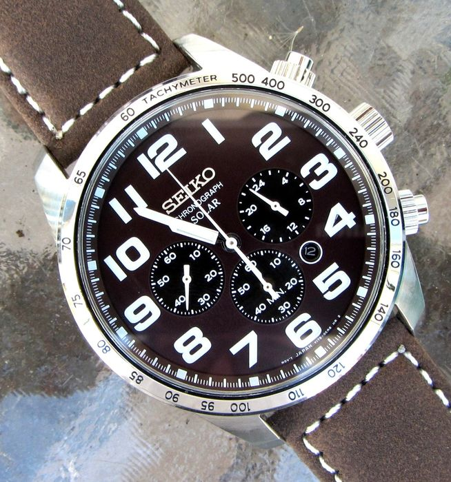 "Seiko - ""NO RESERVE PRICE"" SSC227 Solar Large Dial 1/5th second Chronograph Oyster Band + Straps - V175-0CG0 - Men - 2011-present"
