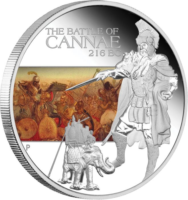 Tuvalu - 1 Dollar 2009 Battle of Cannae Famous Battles - 1 Oz - Silber