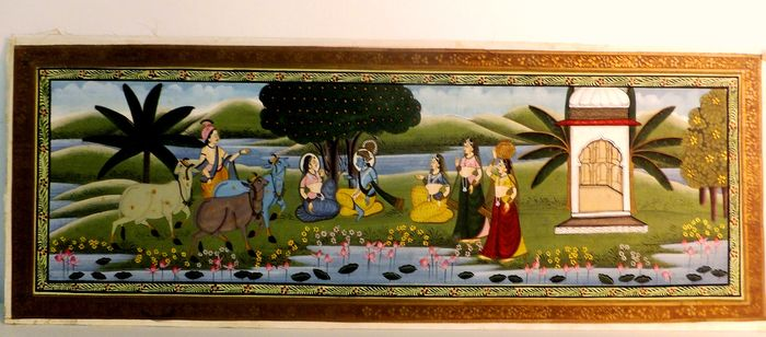 Painting (1) - . - printed and painted on textile - Krishna and the Gopis - India - Second half 20th century