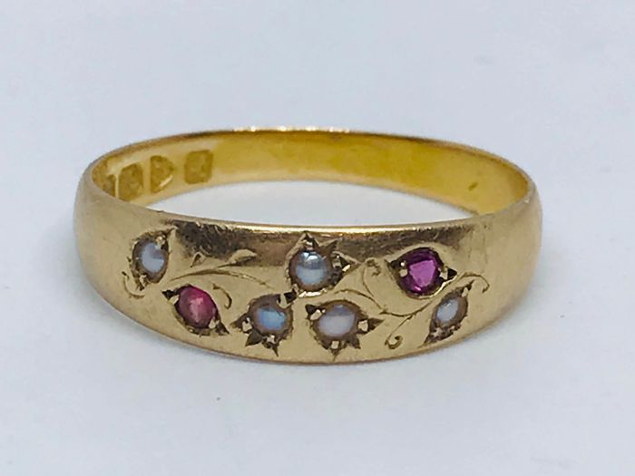 18 kt. Gold - Antique Rare Pearl and Ruby ring Chester Hallmark