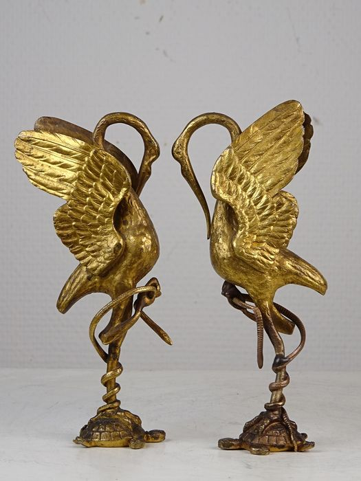 Pair of fine crane and turtle sculptures - Bronze (gilt) - Late 19th century
