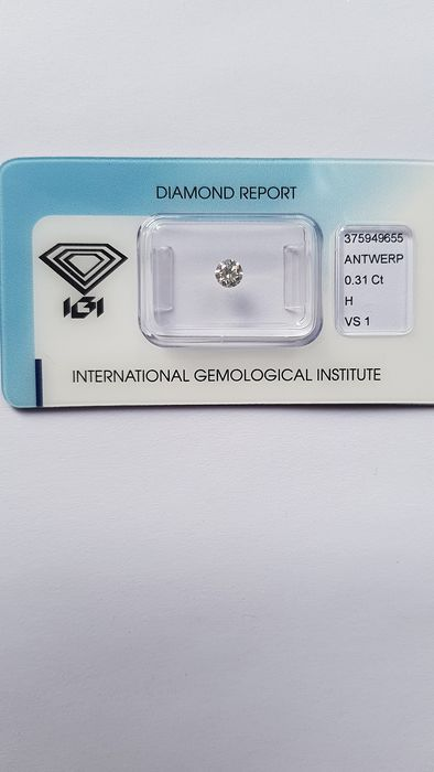 1 pcs Diamant - 0.31 ct - Brillant - H - VS1
