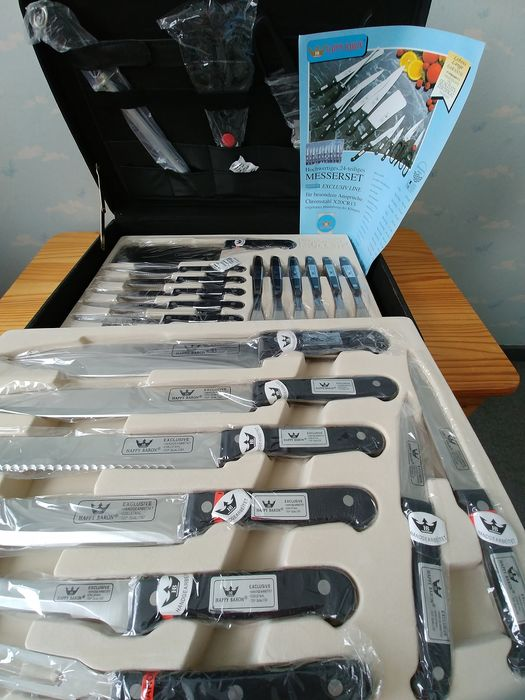 Happy Baron Solingen - 24-piece new top-quality knife set handmade - Chromstahl stainless steel