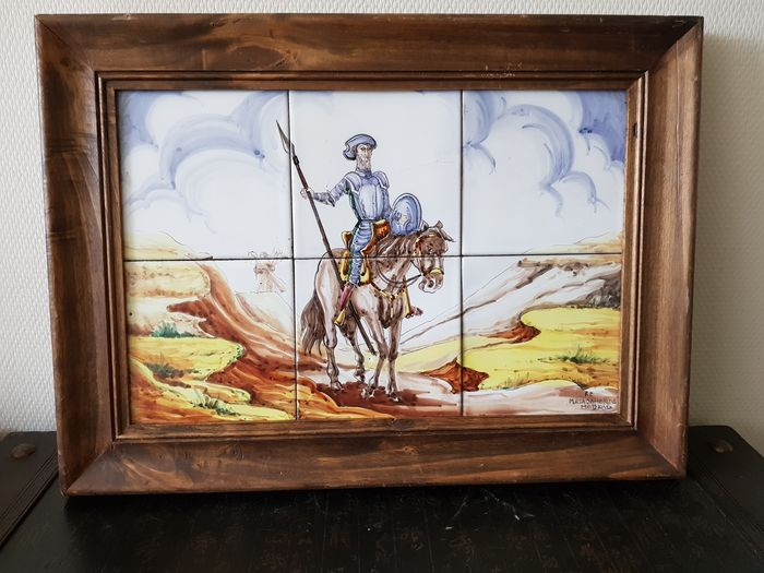 F.P - MajadaHonda Madrid - Arty Tile panel Don Quixote (1) - Art Nouveau - Ceramic, Wood