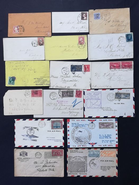 United States of America 1851/1938 - Lot of 16 letters: classics, parcel post, special delivery, first flights