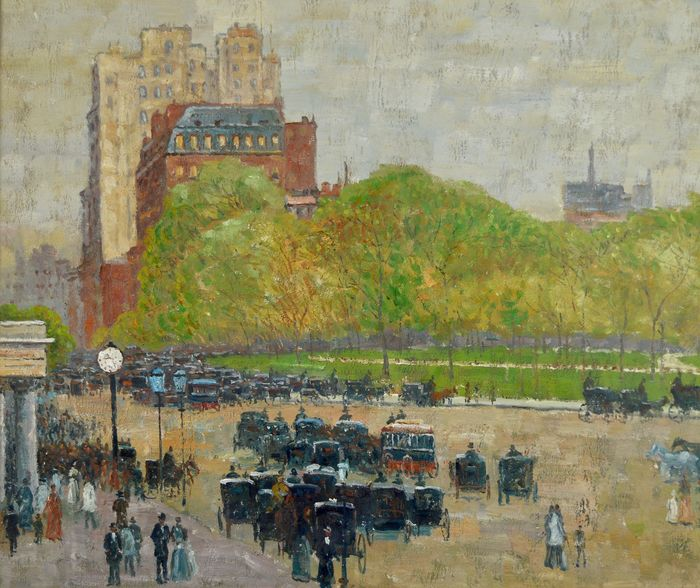 Continental school. (20th century) - Figures and carts in a cityscape