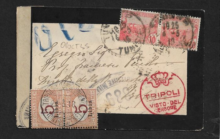 "Italienisch-Libya - Letter taxed on arrival with pair of postage-due stamps of  5 cents with overprint ""Libia"". - Sassone N. 1"