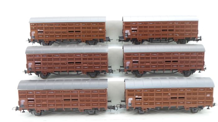 Roco H0 - 4308/46035 - Freight carriage - 6 Two-axle small cattle wagons - DB