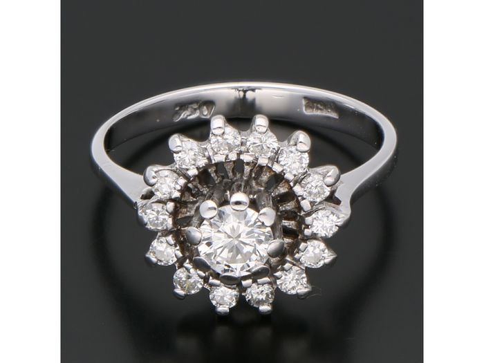 18 kt. White gold - Ring - 0.41 ct Diamond