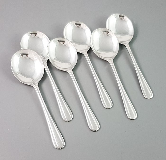 Lewis, Rose & Co - Sheffield - Cutlery, Spoon, Ice-cream/dessert spoons (6) - Mid-Century Modern - Silverplate