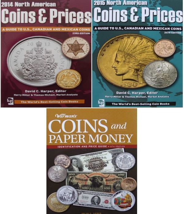 Letteratura - 3 Books : 2 x American Coins & Prices + Coins and Paper Money - Identification and Price Guide