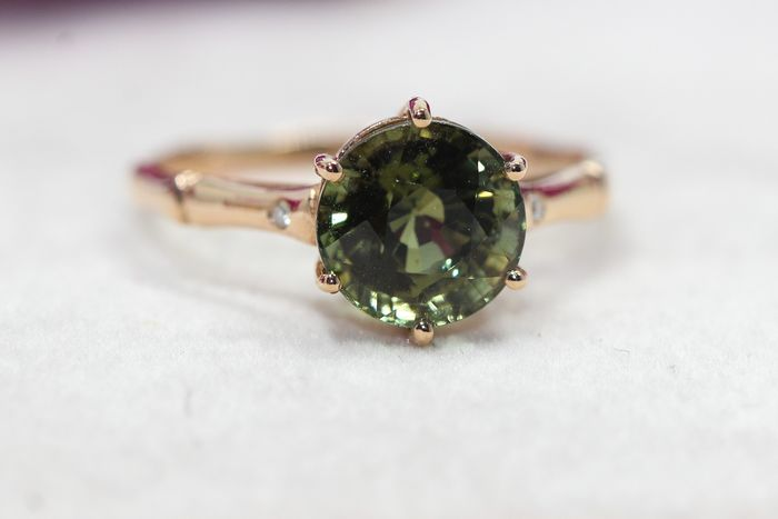 18 kt. Yellow gold - Ring - 1.80 ct Tourmaline - Diamonds