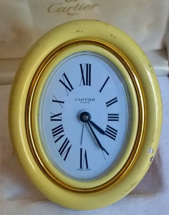 "Tabletop clock - Cartier Paris Swiss Made ""Vendome""  - Gold plated - 1990-2000"