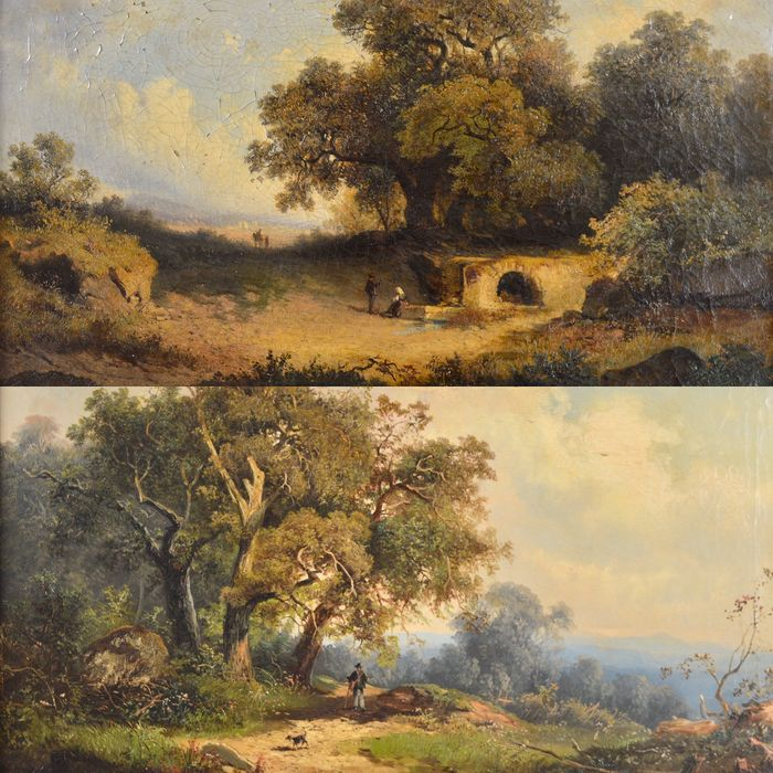 English school. (1846-1917) - A pair of country landscapes with figures