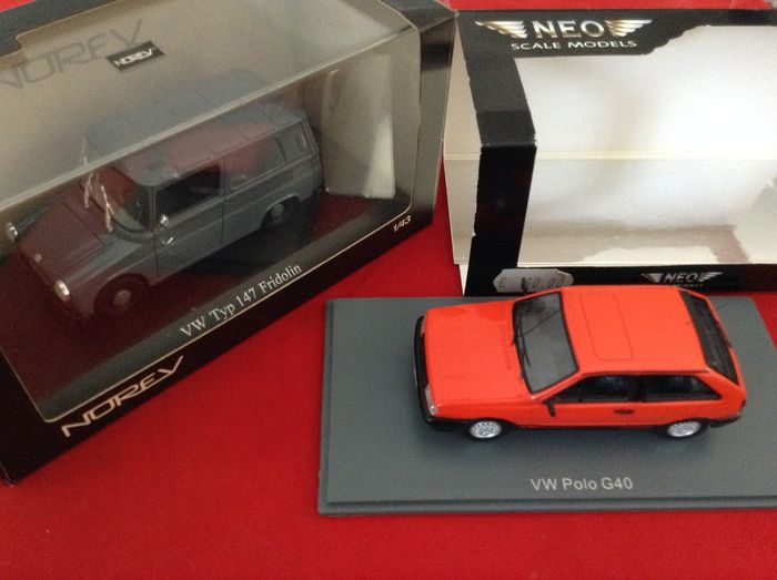 Neo & Norev - 1:43 - Neo ref. #45795 VW Polo G40 road car 1987 orange + Norev #840223 VW Type 147 Fridolin Little Van '64 - limited edition - very good quality