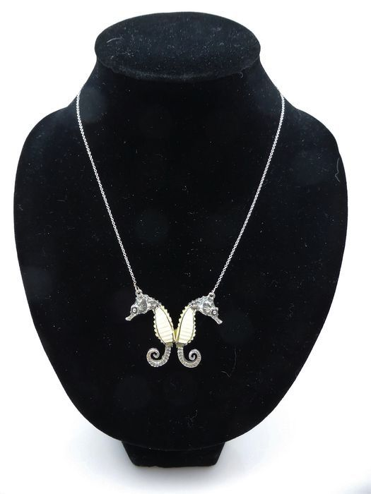 18 kt. Gold, Silver - Necklace with pendant