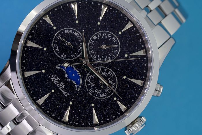 Balticus - Moon Phases Stardust Aventurine Day and Date Swiss Movement  - Dark Blue Stardust  - Heren - Brand New