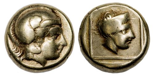 Greece (ancient) - Lesbos, Mytilene. EL Hekte - Sixth Stater, c. 412-378 BC - Gold