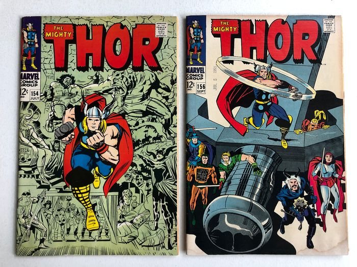 The Mighty Thor #154 & #156 - 1st Appearance Of Mangog - 1/2 Page Ad For Silver Surfer #1 - Higher Grade!!!  - Softcover - First edition - (1968)