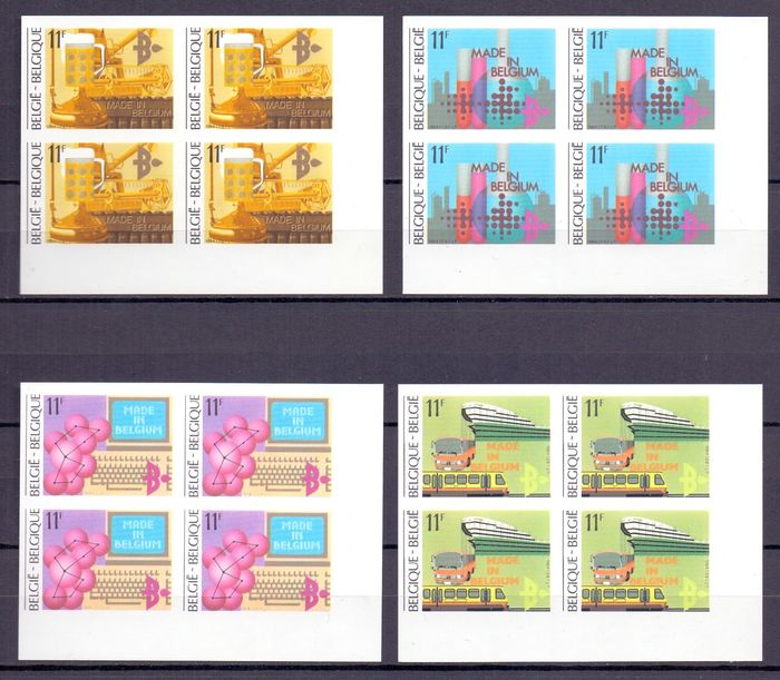 Belgium 1984/1985 - Compilation of fourteen imperforate blocks of four with rear numbers - OBP / COB tussen 2114 & 2196